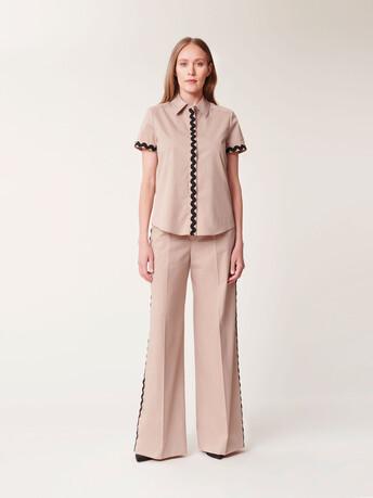 Pantalon large en popeline satinée - Beige