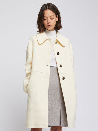 Embossed wool coat with Peter Pan collar - Off white