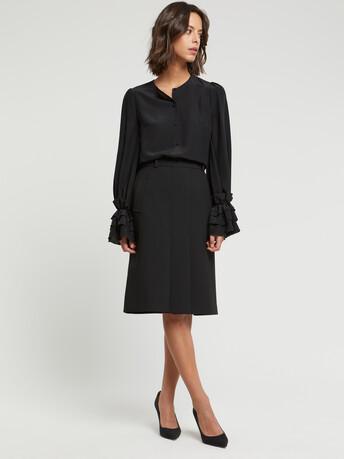 Stretch-tricotine skirt - Noir