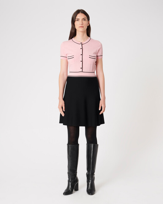 WOVEN DRESS - Candy pink / noir