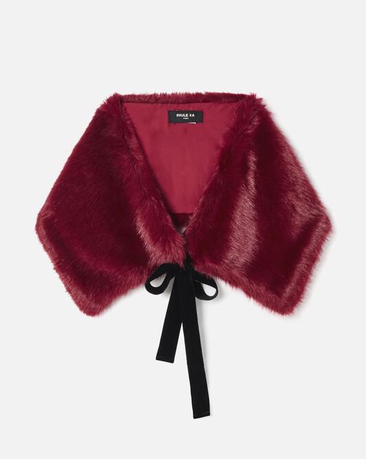 Faux fox fur wrap - Pourpre