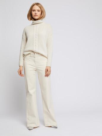 Jeans flare en coton stretch - Ecru