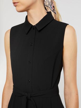 Robe chemise en crêpe envers satin - Noir