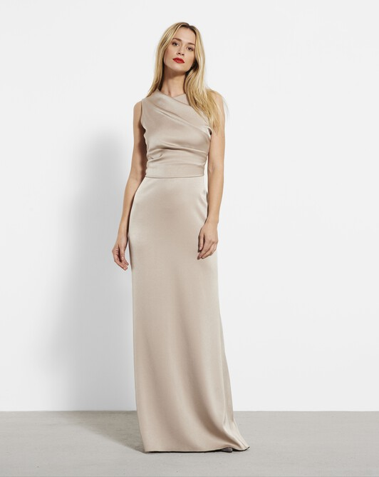 Satin-back crepe gown - Beige