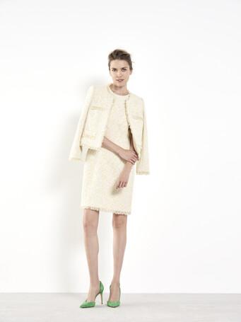 Robe en tweed - Ecru / paille