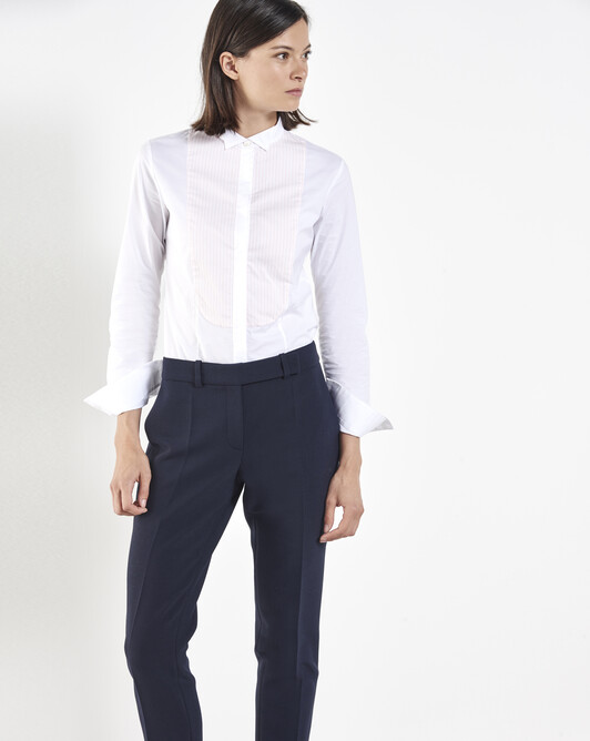 Stretch cotton poplin shirt - White