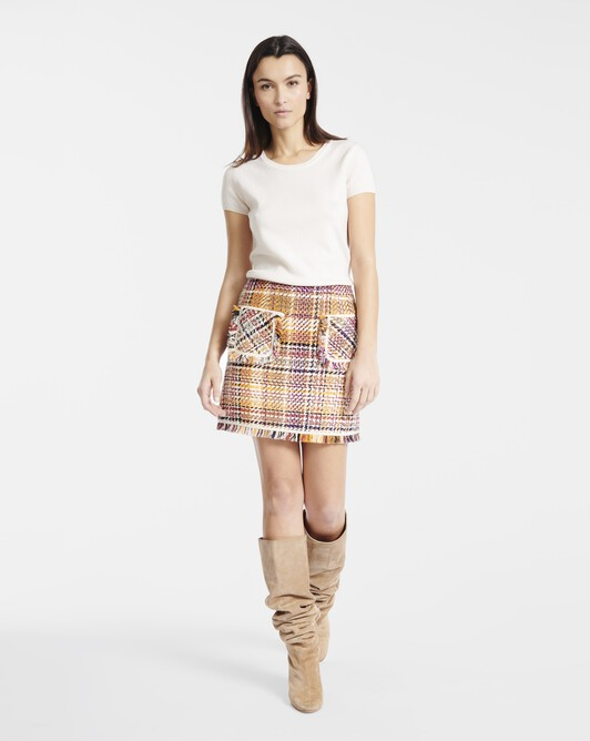 Skirt in Prince of Wales checked cotton - Jaune / rose