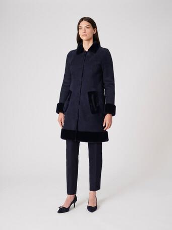 Manteau en peau lainée - Marine