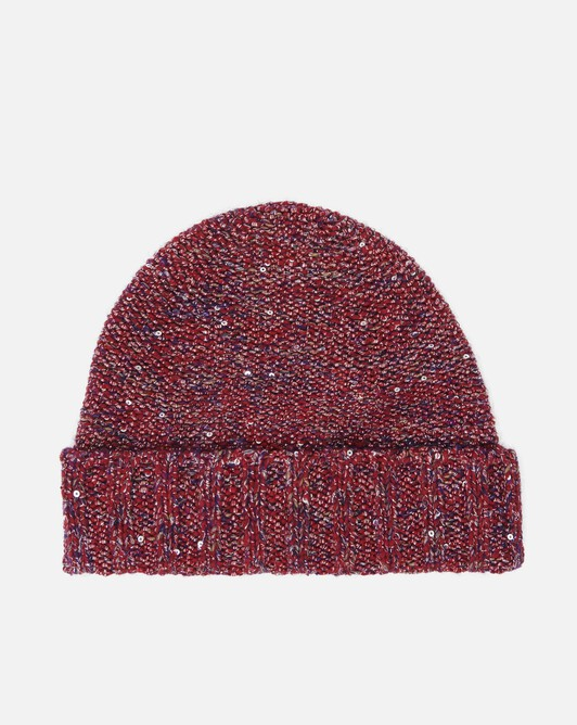 Sequin-embellished beanie - Cranberry