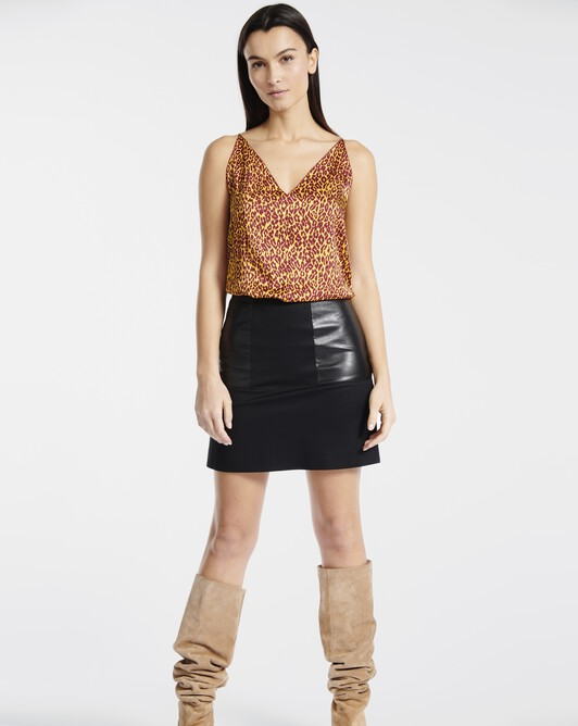 Tank top in leopard-print twill - Bordeaux / jaune