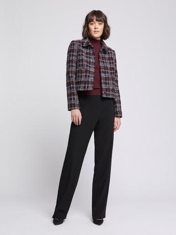 Veste courte à col en tweed bourgogne - Bourgogne