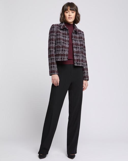 Veste courte à col en tweed bourgogne