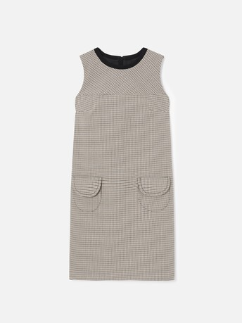 Houndstooth cotton dress - Noir / camel