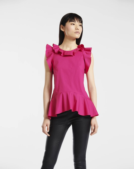 Top in stretch-cotton poplin - Framboise