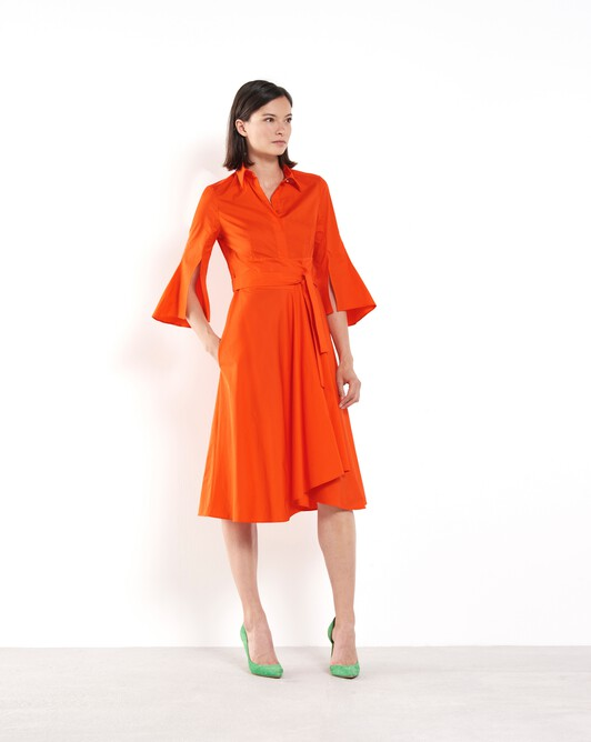 Robe en popeline de coton - Orange