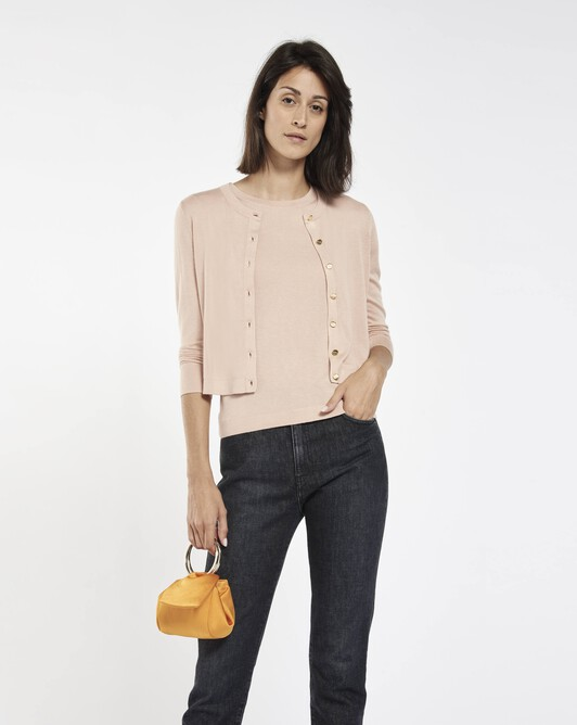 Cardigan in cashmere silk - Pale pink