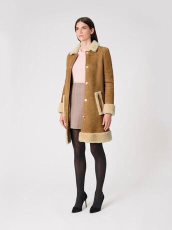 Manteau en peau lainée - Camel