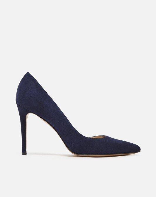 Suede leather pumps - Navy blue