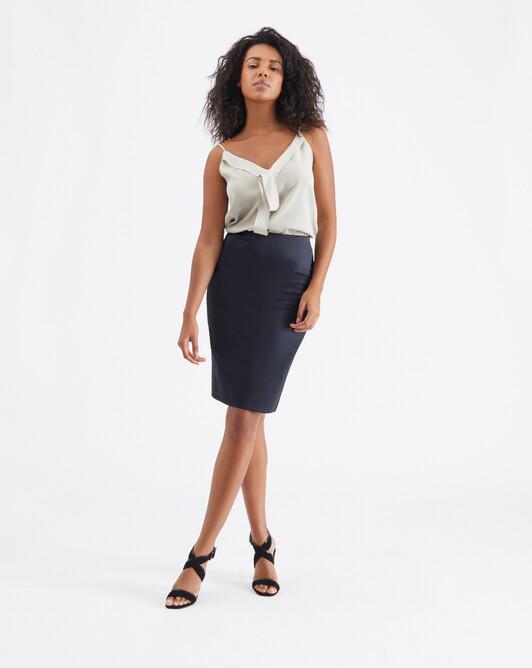 Satin-poplin skirt - Encre