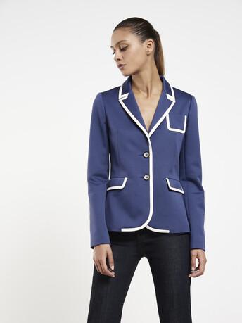 Veste en ottoman de coton stretch - Encre / blanc casse