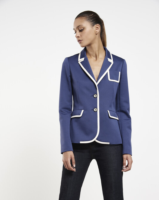 Stretch-cotton ottoman jacket - Encre / blanc casse