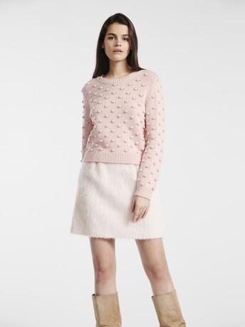 Pull en laine mélangée cachemire - Rose pale
