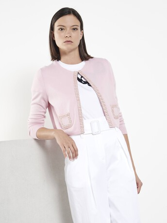 Cashmere and wool cardigan - Rose pale