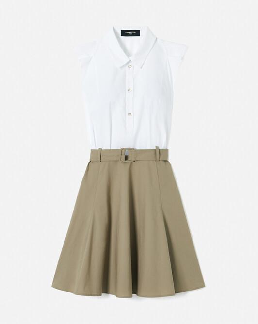 Robe en popeline de coton - Blanc / taupe