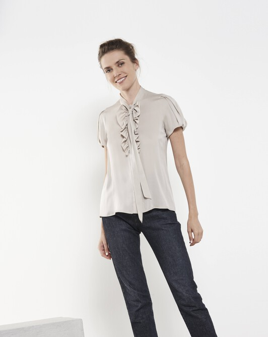 Stretch charmeuse shirt - Mastic