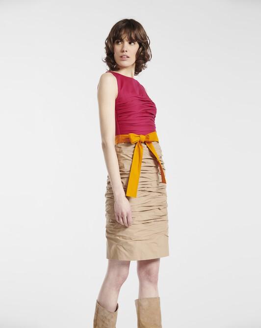 Robe en popeline de coton stretch - Beige / framboise