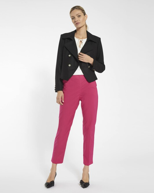 Pants in stretch-cotton poplin - Framboise