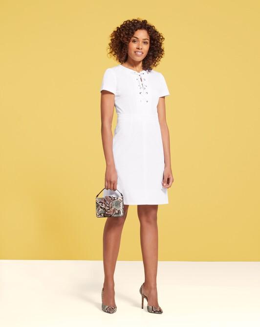 Cotton-gabardine dress - White