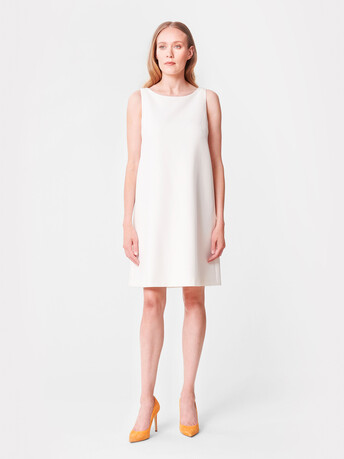 Robe trapèze en tricotine - Blanc casse