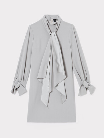 Satin-back crepe dress - Cendre