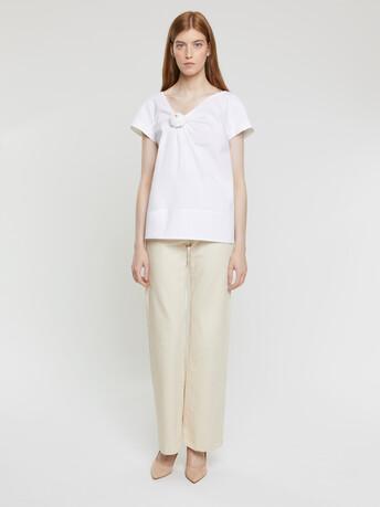 T-shirt en popeline de coton - Blanc