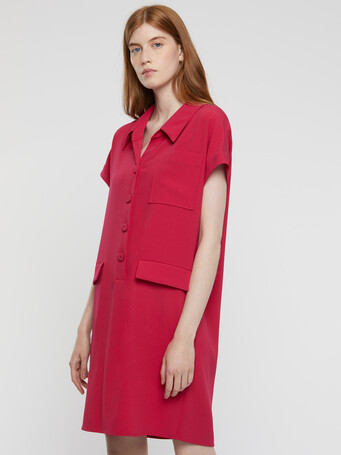 Satin-back crepe dress - Framboise