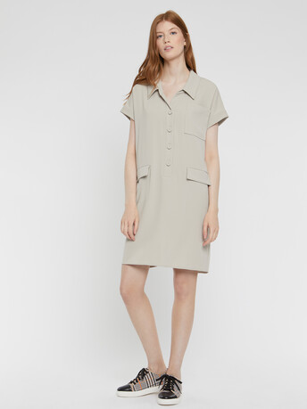 Satin-back crepe dress - Stone
