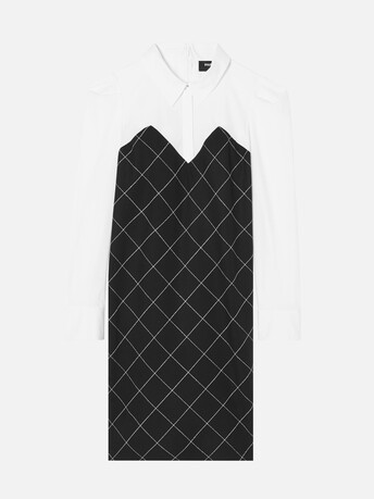 Chalk checked wool dress - Noir / blanc