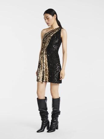 Robe en paillettes tigre - Noir / gold