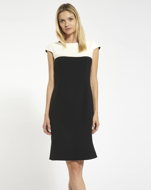 Dress in satin-back crepe - black / off white