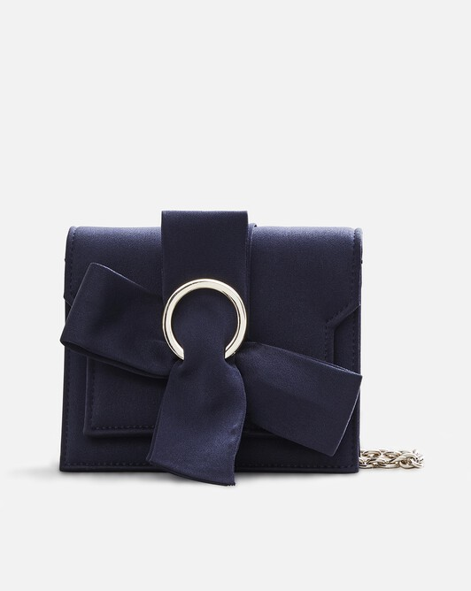 Satin-back crepe bag - Navy blue