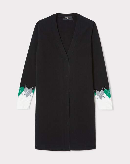 Cardigan en laine et cachemire - Noir / emeraude