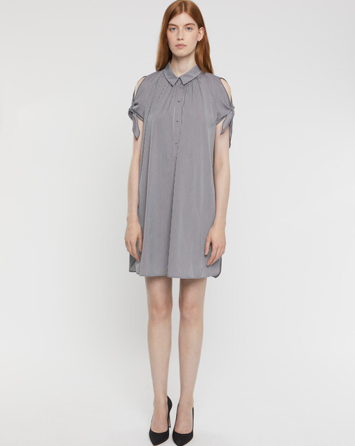 Gingham stretch-poplin dress