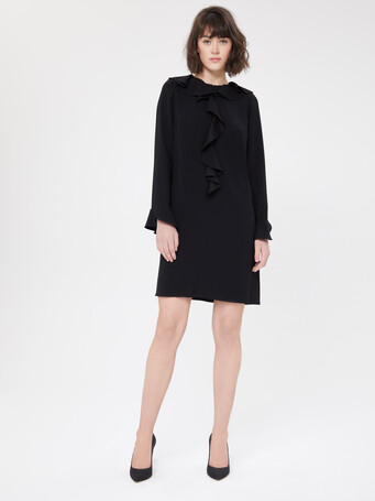 Satin-back crepe dress - Noir