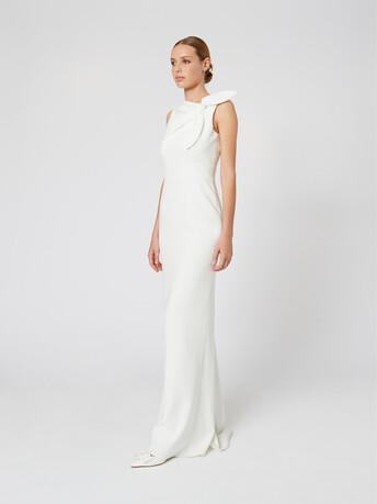 Satin-back crepe dress - Off white