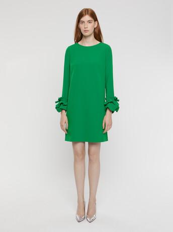 Satin-back crepe dress - Emeraude