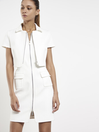 Veste en piqué  de coton stretch - Blanc