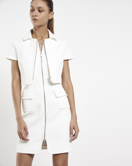 Stretch-cotton piqué jacket - White