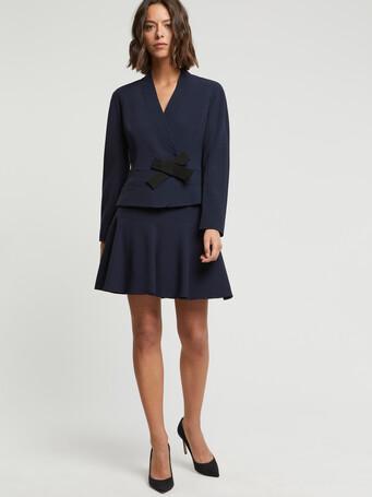 Satin-back crepe jacket - Navy blue