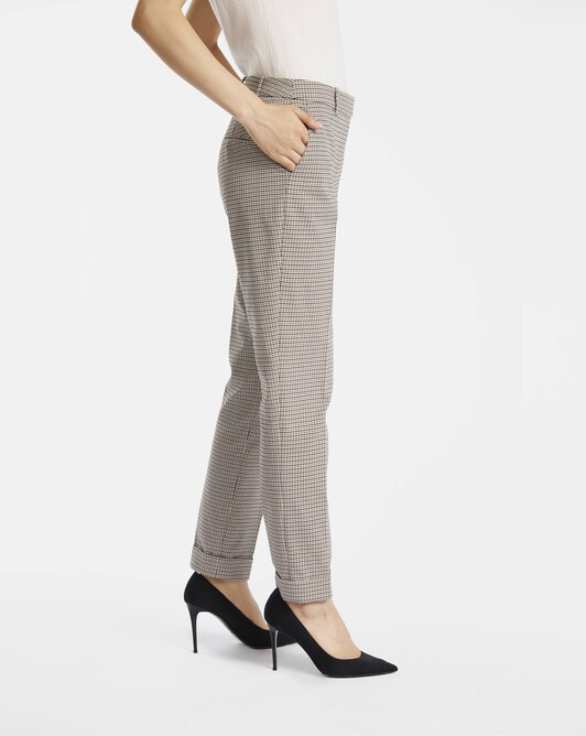 Pants in houndstooth cotton - Black / camel
